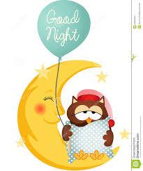 good night owl holding a balloon stock vector image 54942934