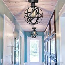 Globe Ceiling Light Fixtures by 2017 Wire Cage Ceiling Lights 1 Light Globe Ceiling Lamp For