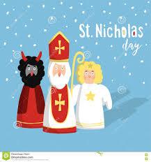 Christmas Invitation Card Cute St Nicholas With Devil Angel Christmas Invitation Card