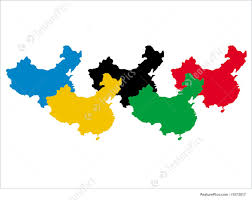 Chinese Map Illustration Of Chinese Maps In Olympic Colours