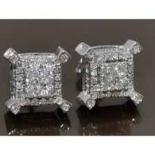 10mm diamond stud earrings cubes 0 5ct 10k white gold back 10mm big xl