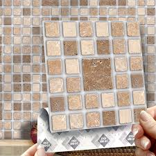roman mosaic effect wall tiles box of 8 tiles stick and go wall