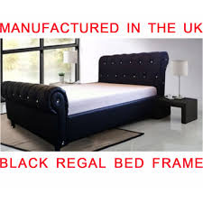 regal faux leather diamante sleigh style beds for sale