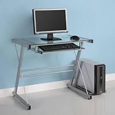 Metal Computer Desk Glass Metal Silver Computer Desk Kitchen Dining
