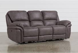 Power Reclining Sofa Norfolk Grey Power Reclining Sofa Living Spaces