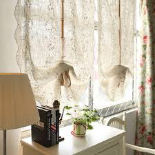 Balloon Curtains For Living Room Fluid Embroidery Linen Balloon Curtain For Living Room Window
