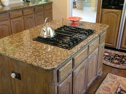 rustic kitchen island with stove in