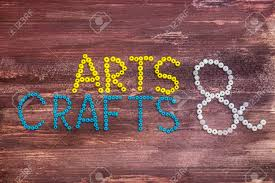 wooden arts and crafts arts crafts written in on a wooden background stock