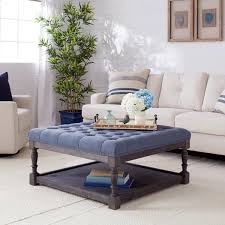 navy blue and white ottoman top i love living creston navy blue linen tufted cocktail ottoman
