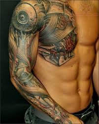 mechanical half chest tattoos tattoos