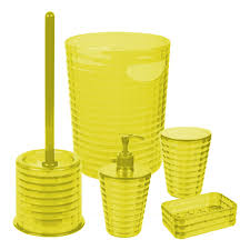 Yellow And Gray Bathroom Accessories by 5pcs Yellow Bathroom Accessory Set Soap Dish Dispenser Bin Toilet