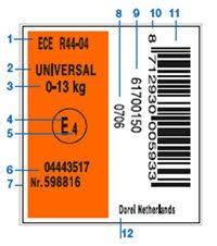 avis siege auto babyauto ece r44 04 approval label