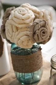 burlap flowers created to grow artsy craftsy out guilded jar vase