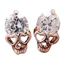 skull stud earrings ottilie cubic zirconia skull stud earrings jewelry