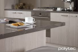 bench top in laminate grigio marble gloss doors in ravine drifted