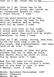 Common The Light Lyrics Book Of Common Praise Song Just As I Am Thine Own To Be Lyrics