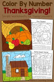 thanksgiving color number worksheets mamas learning corner