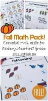 fun math printables fall worksheets for first grade and kindergarten