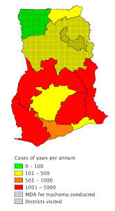 Map Of Ghana Map Of Ghana Showing Number Of Yaws Cases Reported By The National