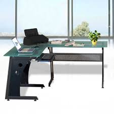 Glass L Shaped Computer Desk by Ogima Deluxe Tempered Glass L Shape Corner Computer Desk With Pull