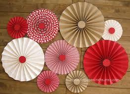 9 pc kraft brown rosettes paper fans pinwheel backdrop