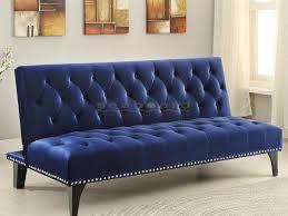 Seeking Futon Coaster 500097 Royal Blue Velvet Sofa Bed Futon