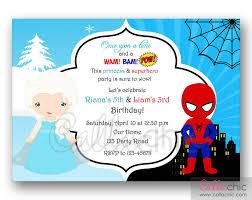 elsa u0026 spiderman birthday invitation printable twin joint