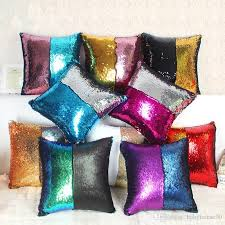 Papasan Chair Cushion Cover Square Pillow Case Magic Glamour Bright Pillowcase Sequin Mermaid