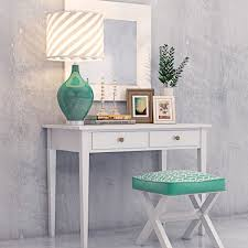Turquoise Vanity Table Modern Vanity Dressing Table With Decorative Set 3d Model Max Obj Mtl