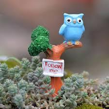 owl on the tree garden miniatures resin figurines for mini