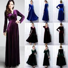 women v neck velvet long sleeve swing dress cocktail party wear
