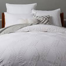 Cb2 Duvet Bedroom Roar Rabbit Zigzag Texture Duvet Cover Shams White West