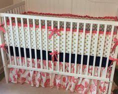 Seashell Crib Bedding Coral Navy And Gold Crib Bedding Gold Crib Bedding Ideas Pinterest