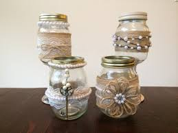 shabby chic mason jars decorated with burlap lace and pearls for