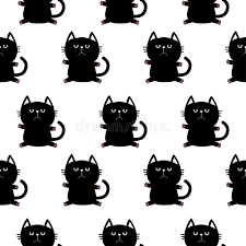 cat wrapping paper black sitting cat with paw print character