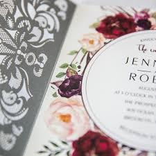 Burgundy Flowers Silver Laser Cut Burgundy Floral Wedding Invitations Ewws177 As