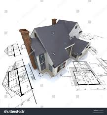 residential blueprints big residential building white brick chimneys stock photo 4246801