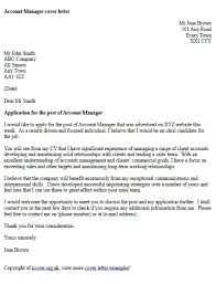 account manager cover letter example cover letter examples
