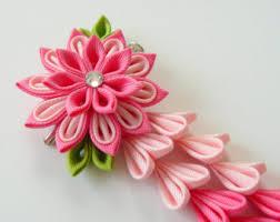 flower hair clip kanzashi fabric flower hair clip with falls by julva