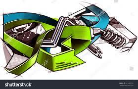 computer graffiti drawing graffiti on motorcycle style computer stock illustration