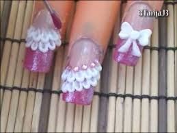 cute bow u0026 lace 3d acrylic nail art design tutorial youtube