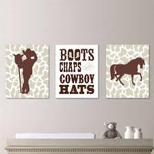 cowboy horse print trio decor nursery boy cow horse boots