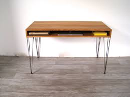 white oak mid century desk with hand welded hairpin legs via etsy