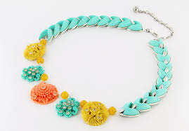 yellow turquoise necklace images Bright turquoise wedding necklace with yellow peach accents jpg
