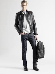 leather biker jacket gucci leather biker jacket in black for men lyst