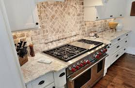 interior design stunning brick backsplash with glass range hoos