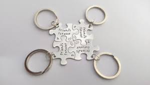 personalised friends gift friends keyrings jigsaw puzzle