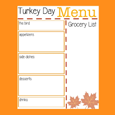 turkey day menu planner typically simple