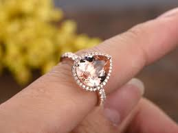 morganite pear engagement ring 3 carat pear shaped morganite engagement ring 14k gold