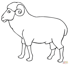 ram outline coloring page free printable coloring pages